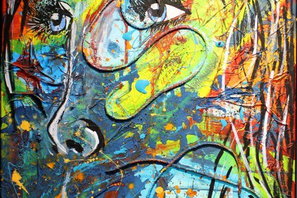 Peinture acrylique et matière Réservé