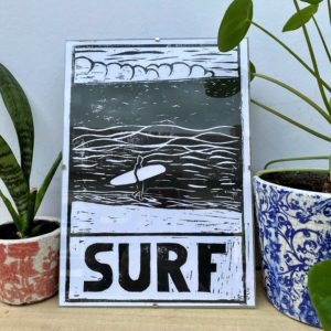 Linogravure Surf